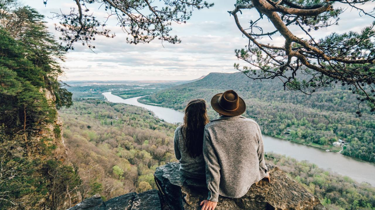 Couple enjoying views in the mountains of East Tennessee