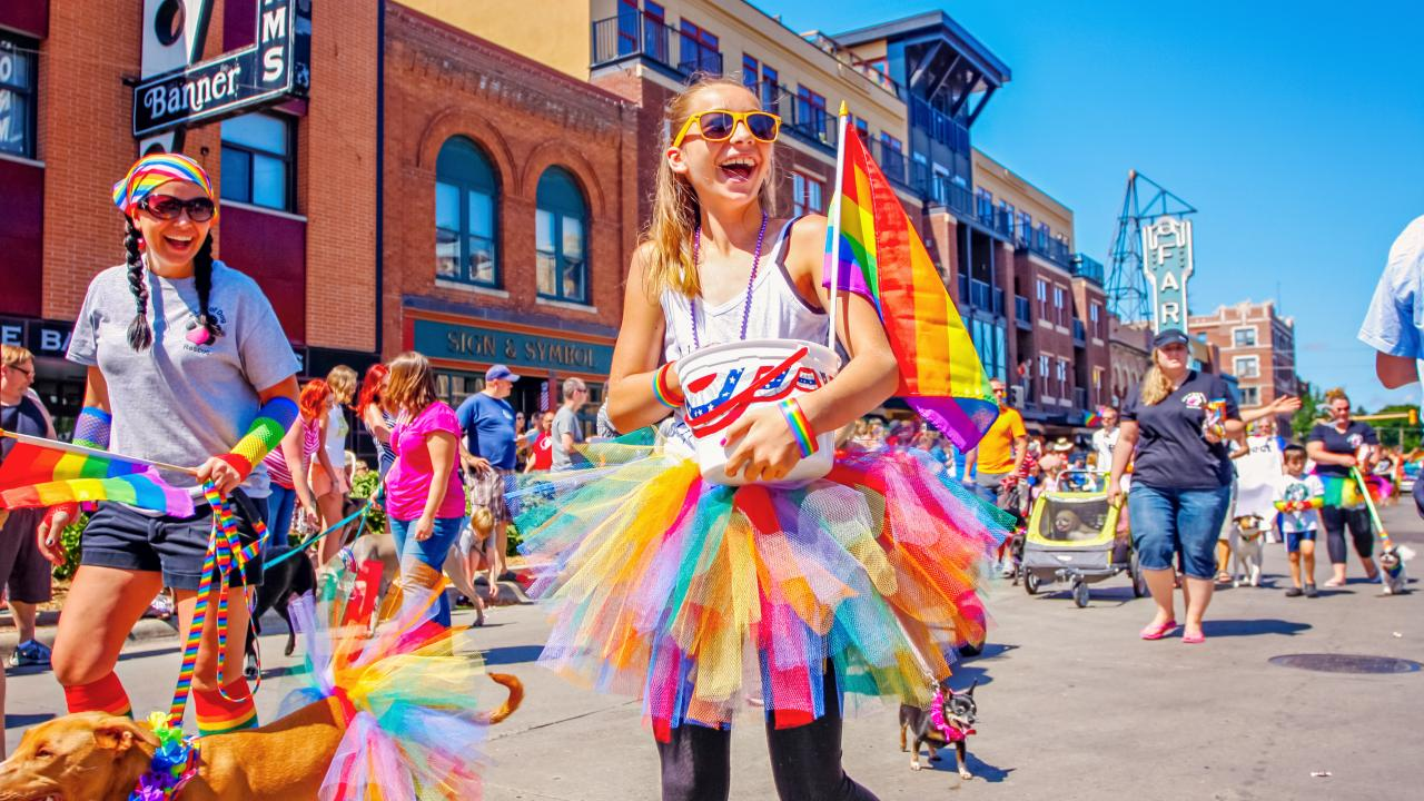 A festive atmosphere at The Fargo-Moorhead Pride parade, held each August in North Dakota