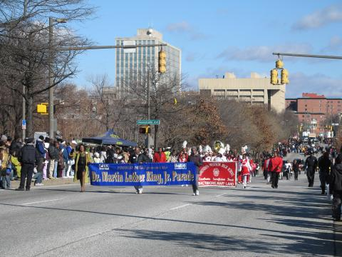 Annual Dr. Martin Luther King Jr. Parade steps off at the intersection of Martin Luther King, Jr. Boulevard and Eutaw Street, proceeds south on Martin Luther King, Jr. Boulevard and disbands at Baltimore Street