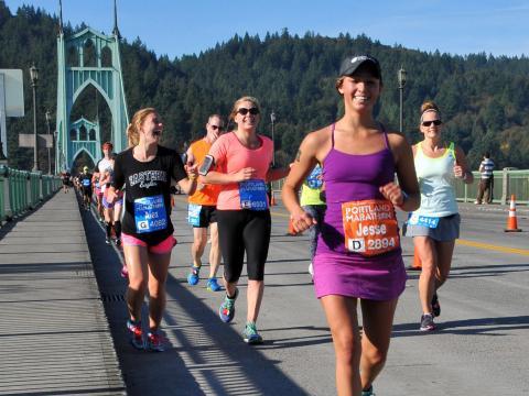 All smiles running the Portland Marathon