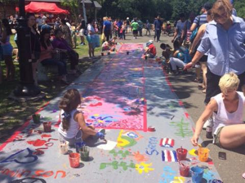 Sidewalk chalk art at the Braddock Park Art Festival in Bergen