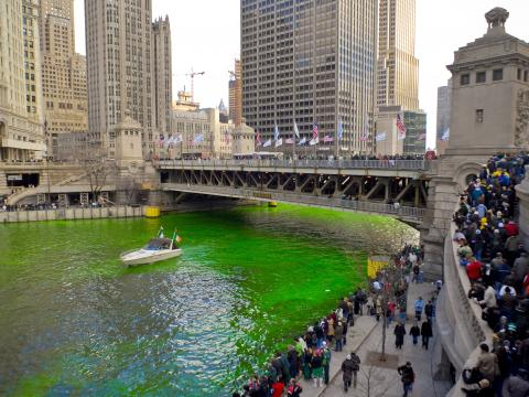 Watching the dyeing of the Chicago River to emerald green for St. Patrick's Day