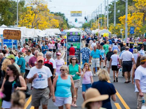 Vendors and attendees at the ArtsFest in Martin County, Florida