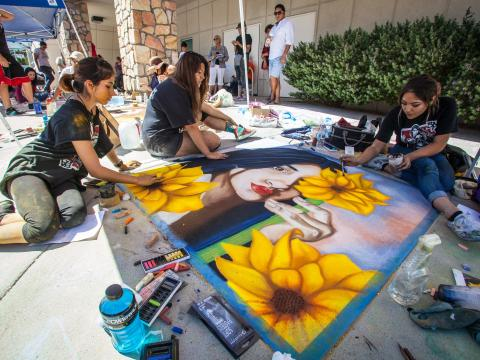 Live chalk art during the Chalk the Block festival in El Paso, Texas