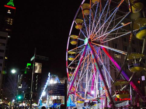 A  Ferris wheel downtown during First Night Raleigh