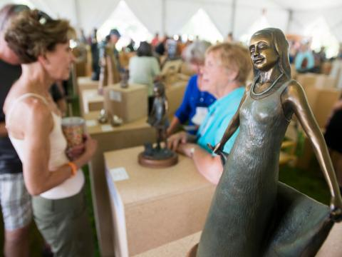An art event during Sculpture Show Weekend in Loveland, Colorado