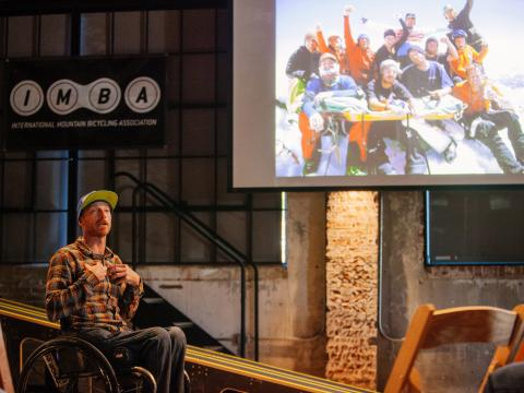A speaker during a session at the Arkansas Bike Summit in Bentonville