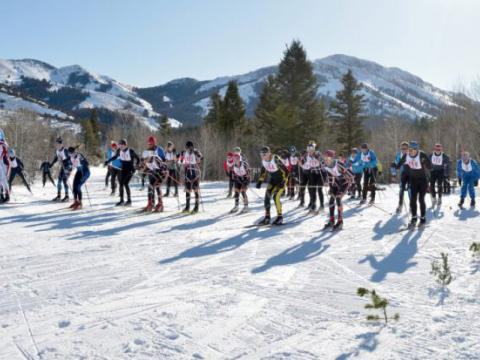 Skiers racing in the Potato Cup cross-country ski race in Pocatello, Idaho